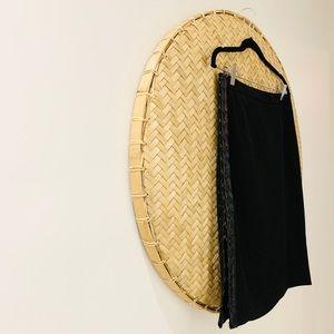BCBG Modern Black Pencil Skirt w/ woven leather.